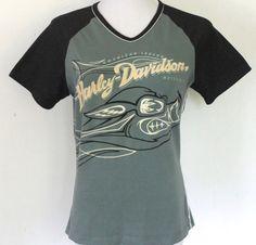 Womens Size M Harley Davidson Raised Velveteen Lettering Baseball Sleeve T-Shirt #HarleyDavidson #GraphicTee