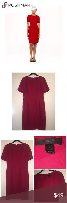 J.Crew Crepe Short Sleeve Dress Pre•loved J.Crew Crepe Short Sleeve Dress • Size 6 • 100% Poly • Zips up the back • Lined • The color on the model is more accurate • EUC J. Crew Dresses