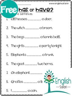 English Grammar For Kids, English Phonics, English Worksheets For Kids, Reading Worksheets, Printable Worksheets, Number Words Worksheets, English Lessons, English Class, Verb To Have