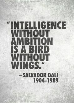 """intelligence without ambition is a bird without wings"" - Salvador Dali"