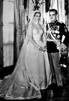 One of the most beautiful brides ever:  Grace Kelly on her marriage to Prince Rainier of Monaco in 1956.