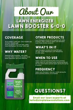 Get a greener lawn with Lawn Energizer. Nitrogen and Iron work together to invigorate your lawn, providing it with the nutrients it needs to foster greening. Liquid Lawn Fertilizer, Grass Fertilizer, Lawn Care Schedule, Lawn Care Tips, Fall Lawn Care, Organic Lawn Care, Lawn Maintenance, Lawn Edging, Green Lawn