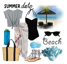 """Summer Date: The Beach"" by pixidreams ❤ liked on Polyvore featuring George, Monsoon, WithChic, Vapur, Joie, Eos, Mystique, Mud Pie, beach and summerdate"
