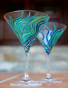 Peacock Martini Glasses--Set of 2 Hand Painted Glasses Etsy