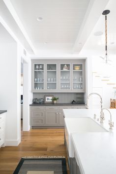 Gray cabinets in whi