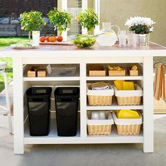 Don't Miss the Basics  An outdoor kitchen is as important to plan as an interior one. Along with picking the right grill and countertop, plan for storage and organizational necessities, such as pullout trash and recycling bins, and baskets to hold napkins, glasses, and cleaning supplies.