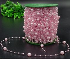 Krismile200 Feet Roll Pink Pearl String Party Garland Wedding Centerpieces Bridal Bouquet Decoration Pearl String Bead Garland Wedding Decoration DIY Table Centerpieces Bridal Shower Party Supplies ** More info could be found at the image url.(It is Amazon affiliate link) #liketeam