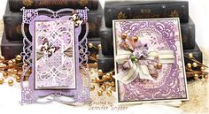 Scrap Escape: DIY Grace - Delicate Cards Made Easy  - These cards feature the Chantilly Lace collection by Becca Feeken ( Amazing Paper Grace).    DIY on my blog  #NeverStopMaking #Spellbinders  #Spellbloggers  #purplecards #DIYcards