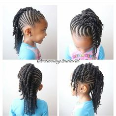 Twist Hairstyles For Kids Adorable Flat Twist With Side Bang With Two Strand Twist Hanging In The Back