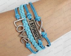 Blue Charm Bracelet Love metal Leather Braid by lifesunshine, $7.99