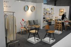 The Margaret Howell display at Design Atrium in Japan is liberally adorned with ercol furniture, including two exclusives - the ercol stacking chair and butterfly chair with contrasting black painted legs and lists.
