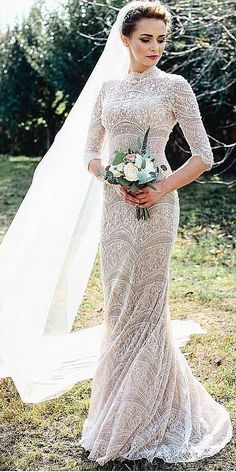 24 Of The Most Gorgeous Lace Wedding Dresses With Sleeves ❤️ lace wedding dresses with long sleeves embellishment floral classic cathytelle photography Full gallery: https://weddingdressesguide.com/lace-wedding-dresses-with-sleeves/