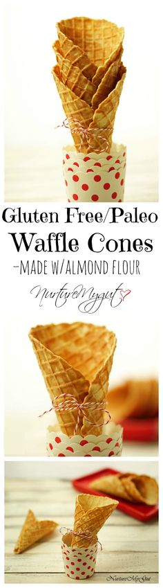 Gluten Free Paleo Waffle Cones. Dairy Free. Made with blanched almond flour and sweetened naturally with maple syrup. These are light, crispy and have the perfect amount of sweetness. My secret ingredient gives a bold flavor to these waffle cones! Comfortably fits 2 scoops of ice cream.