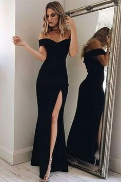 Charming Prom Dresses,Black Prom Dress,Off the Shoulder Prom Dresses,Black Prom Gown,Mermaid Prom Dresses