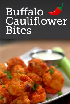 Buffalo Cauliflower Bites Recipe | Mmmm - buffalo wings are so good! But now you can enjoy them and get your veggies too! All it takes is half a cup of hot sauce, butter, garlic powder and cauliflower. Yes, cauliflower! So you can enjoy this half-time treat with half the guilt.... Super easy to make too! Click for the recipe and the short how-to video.