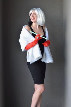 Black dress from closet wig most fabulous faux fur you can grab diy cruella deville costume solutioingenieria Images