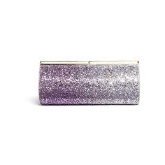 Jimmy Choo 'Trinket' dégradé glitter cylinder clutch ($940) ❤ liked on Polyvore featuring bags, handbags, clutches, purple, purple handbags, glitter clutches, sport purse, glitter handbags and glitter purse