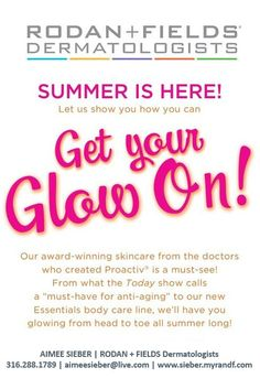 GET YOUR GLOW ON with Rodan and Fields Dermatologists and the best skincare products around! What they did for acne (Proactiv) they are now doing for our most common skin concerns! Clinically-proven products backed by a 60-day satisfaction guarantee -- even if the bottles are empty! www.kristiem.myrandf.com