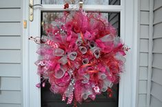 Valentines Day Wreath, Deco Mesh Valentines, Mesh Wreath, Spiral Valentine Wreath, Pink Deco Mesh Wreath. $50.00, via Etsy.