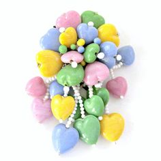 Miriam Haskell Dress Clip Glass Dangle Hearts Vintage Unsigned Pink Blue Yellow Green Brooch Art Deco. $95.00, via Etsy.
