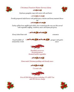 Bayhouse Holiday Banquet Menu 2012