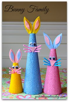 Make a cute bunny family for Easter out of styrofoam cones! Easy kid's project! #Easter