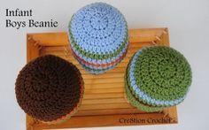 infant boys beanie free crochet pattern - Cre8tion Crochet