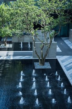 30 Best Residential Landscape Architecture Designs For Modern Homes - TopDesignIdeas Modern Landscaping, Garden Landscaping, Landscaping Ideas, Modern Water Feature, Diy Garden Fountains, Fountain Design, Pond Water Features, Water Walls, Landscape Architecture Design
