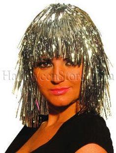 10 Silver Tinsel Wigs Fun Party Wig Disco, Futuristic. $14.99
