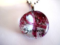 Art Pendant, Necklace, Cancer Survivor, Glass Cabochon, Pink Ribbon, glass Gem, Breast Cancer Awareness