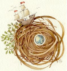 sailing ship watercolor nest painting OOAK by atticEditions, $75.00