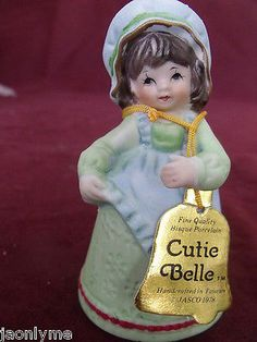 Jasco 1978 CUTIE BELLE Girl bell Handcrafted Bisque Porcelain