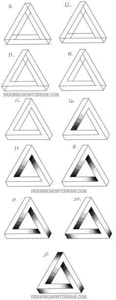 drawing an impossible triangle step by step drawing tutorialYou can find drawings and more on our website.drawing an impossible triangle step by step drawing tutorial Drawing Lessons, Drawing Tips, Drawing Sketches, Drawing Drawing, Drawing Ideas, Designs For Drawing, Easy 3d Drawing, Rodin Drawing, Mouth Drawing