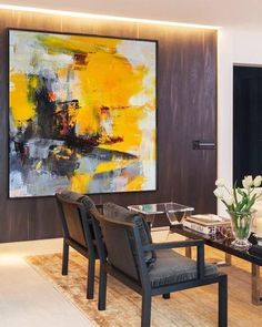 CZ Art Design @CelineZiangArt- Palette Knife abstract painting, Contemporary Art, yellow, orange, redd, grey, etc. #abstractart