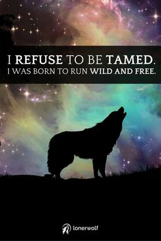 Don't let them kill your free spirit. Be wild. Carve your own path. Howl at the moon. Refuse to conform.