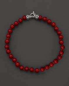 Scott Kay Men's Red Shell Beaded Bracelet, 6mm