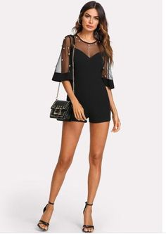 Pearl Embellished Mesh Yoke Romper Summer 2019 - Aladdin's Box . Aladdin, Cute Casual Outfits, Summer Outfits, Jumpsuit Dressy, Summer Romper, Rompers Women, Black Skinnies, Comfortable Fashion, Types Of Sleeves