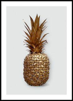 Affisch med foto av guld ananas