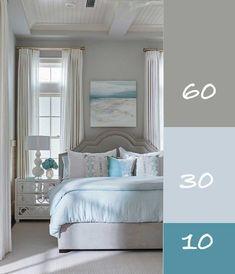 Blue And Cream Bedroom, Teal Master Bedroom, Bedroom Colors, Home Bedroom, Bedroom Decor, Living Room Decor, Aqua Bedrooms, Color Wheel Interior Design, Learn Interior Design