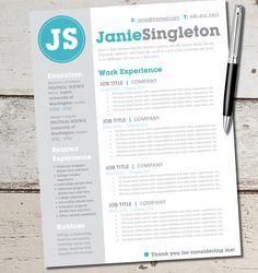 INSTANT DOWNLOAD - Resume Design Template - Microsoft Word, Editable, Custom, Black, White, Gray, Teal, Blue