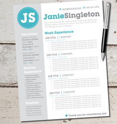 INSTANT DOWNLOAD - Resume Design Template - Microsoft Word, Editable, Custom, Black, White, Gray, Teal, Blue