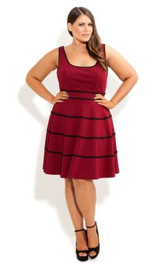 Plus Size Swing Skater Dress red - City Chic - City Chic