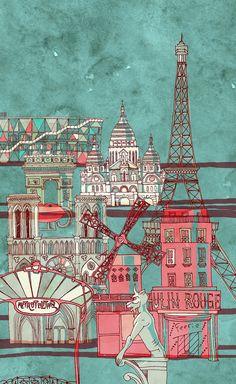 Pompidou, Arc de Triomphe, Tour Eiffel, Moulin Rouge, Notre Dam, Sacre du Couer, and Metro