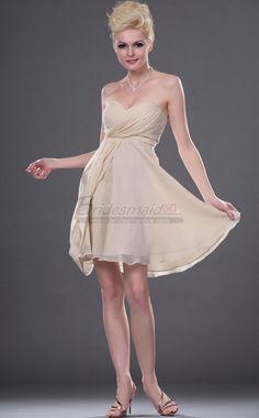 #bridesmaiddresses Sweetheart Neckline Short Chiffon , Lace Ivory Bridesmaid Dress BD-CA410