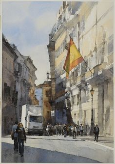 Piazza di Spagna, Rome, 2014, watercolor by Chien Chung Wei