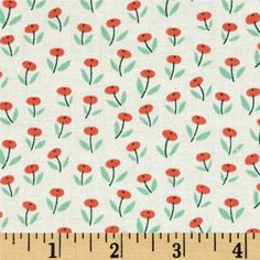Cloud 9 Organic Park Life Flower Field Coral from @fabricdotcom  Designed by Elizabeth Olwen for Cloud 9 Fabrics, this GOTS certified organic cotton print is perfect for quilting, apparel, and home decor accents. Colors include coral, jade green, and cream.