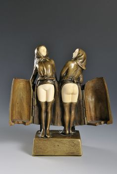PETER TEREZSZUK (1875 - 1963), A rare bronze of two girls -  Vienna, early 20th century.  Erotica, Europe