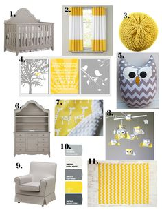 Yellow and Gray Nursery Style Board. really want this whenever i have a kid