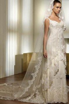 white elegant wedding dress lace dress -ZZKKO  Love lace and gauzy stuff. ^.^ tasteful tho, not gaudy.