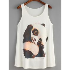 White Panda Print Tank Top ($14) ❤ liked on Polyvore featuring tops, white singlet, white tank, white top, round top and print tank